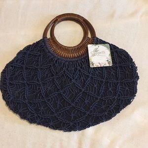 Handbags - NWT blue straw handbag with wooden handle